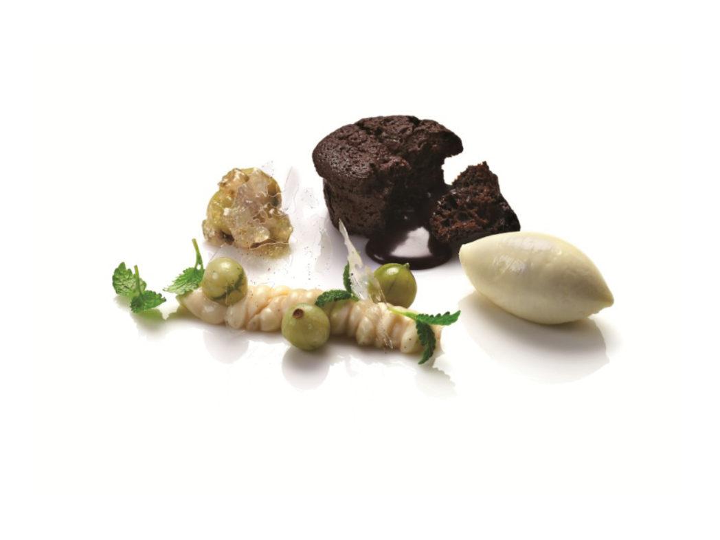 Chokolade fondant med stikkelsbær og vaniljecreme